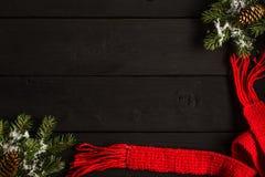 Kerstmis of Nieuwjaar feestelijke kaart Vlak leg royalty-vrije stock fotografie