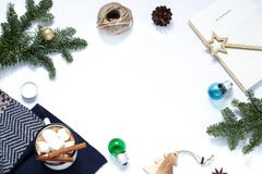 Kerstmis, Nieuwjaar wit kader De vlakte van de de wintervakantie lag stock foto's