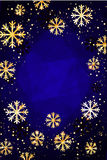 Kerstmis of Nieuwjaarachtergrond met gouden sneeuwvlokken Abstracte Illustratie Gemakkelijk modern malplaatje Stock Afbeelding