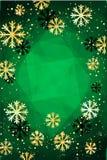 Kerstmis of Nieuwjaarachtergrond met gouden sneeuwvlokken Abstracte Illustratie Gemakkelijk modern malplaatje Royalty-vrije Stock Afbeeldingen