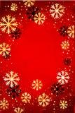 Kerstmis of Nieuwjaarachtergrond met gouden sneeuwvlokken Abstracte Illustratie Gemakkelijk modern malplaatje Royalty-vrije Stock Fotografie
