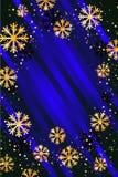 Kerstmis of Nieuwjaarachtergrond met gouden sneeuwvlokken Abstracte Illustratie Gemakkelijk modern malplaatje Royalty-vrije Stock Afbeelding