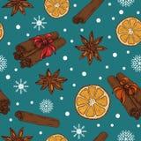 Kerstmis/Nieuwjaarpatroon met kruiden en sinaasappelen vector illustratie