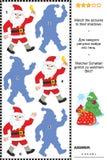 Kerstmis of Nieuwjaarschaduwspel met Santa Claus Royalty-vrije Stock Foto