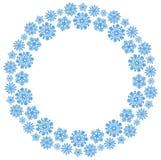 Kerstmis om kader met blauwe sneeuwvlokken op een witte achtergrond stock illustratie