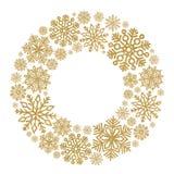 Kerstmis om kader met gouden sneeuwvlokken Grens van lovertjeconfettien stock foto