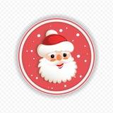 Kerstmis om rood teken met een leuk Santa Claus-silhouet, vector illustratie