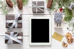 Kerstmis online het winkelen achtergrond Stock Afbeelding