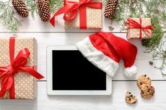 Kerstmis online het winkelen achtergrond Royalty-vrije Stock Foto