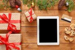 Kerstmis online het winkelen achtergrond Royalty-vrije Stock Foto's