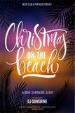 Kerstmis op de Strandaffiche stock illustratie