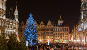 Kerstmis op Grand Place in Brussel Stock Fotografie