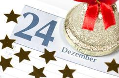 Kerstmis op kalender Stock Afbeelding