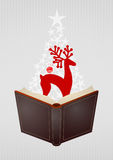 Kerstmis open boek royalty-vrije illustratie