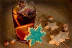 Kerstmis overwogen wijn met koekjes Stock Fotografie