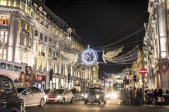 Kerstmis in Oxford Street, Londen, het UK royalty-vrije stock foto's