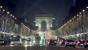 Kerstmis in Parijs - champs-Elysees stock videobeelden