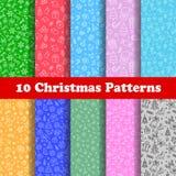 10 Kerstmis Patern Stock Afbeelding