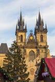 Kerstmis Praag December 2015, Oude Stads Vierkante, Tsjechische Republiek Royalty-vrije Stock Foto