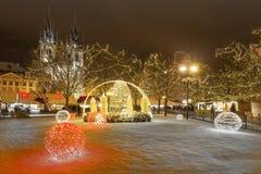 Kerstmis Praag in nacht Royalty-vrije Stock Afbeeldingen