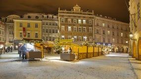 Kerstmis Praag in nacht Royalty-vrije Stock Fotografie