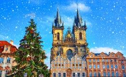 Kerstmis in Praag, Tsjechische republiek stock afbeelding