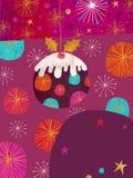 Kerstmis Pud - het Ontwerp van de Kaart van Kerstmis Stock Afbeelding