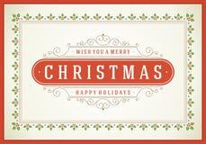 Kerstmis retro bloeit typografisch en Stock Afbeelding