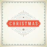 Kerstmis retro bloeit typografisch en Stock Fotografie