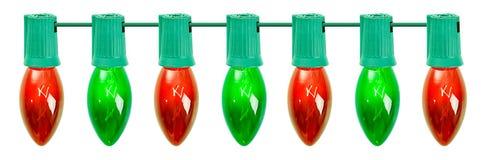 Kerstmis: Rij van Rode en Groene Bollen Stock Afbeeldingen