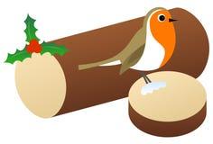 Kerstmis Robin Sitting op een Logboek Vector Illustratie