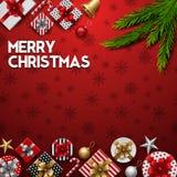 Kerstmis rode achtergrond met giftdozen en spartakken royalty-vrije illustratie