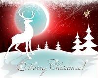 Kerstmis rode achtergrond met maan en herten Royalty-vrije Stock Foto's