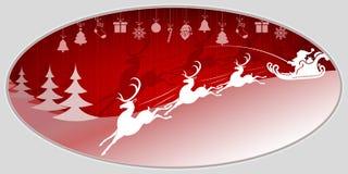 Kerstmis rode achtergrond met Santa Claus en herten Stock Foto's