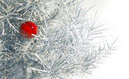 Kerstmis rode bal op sneeuwnaaldboom Stock Foto's