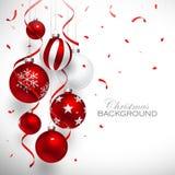 Kerstmis rode ballen Stock Foto's