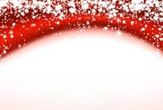 Kerstmis rode golvende achtergrond met sterren Stock Fotografie