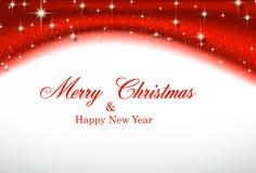 Kerstmis rode golvende achtergrond met sterren Stock Afbeeldingen