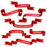 Kerstmis rode linten Royalty-vrije Stock Foto's