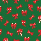 Kerstmis rood en groen vectorpatroon met bogen royalty-vrije stock afbeeldingen