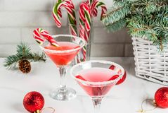 Kerstmis roze pepermunt martini Royalty-vrije Stock Foto's