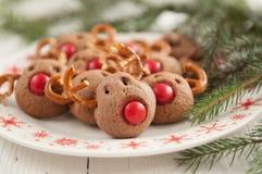 Kerstmis Rudolf Reindeer Cookies Royalty-vrije Stock Fotografie