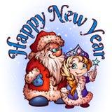 Kerstmis Santa Claus en sneeuw-Meisje Vector Stock Afbeeldingen