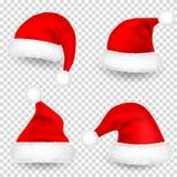 Kerstmis Santa Claus Hats With Fur en Schaduwreeks Nieuwjaar Red Hat op Transparante Achtergrond wordt geïsoleerd die De winter G royalty-vrije illustratie