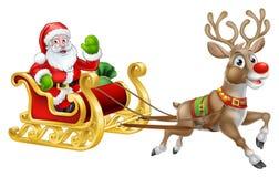 Kerstmis Santa Claus Sleigh Sled Reindeer vector illustratie