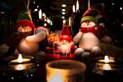Kerstmis Santa Claus Snowmen Decorations royalty-vrije stock foto