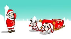 Kerstmis-schaap-slee Stock Foto's