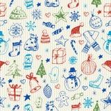 Kerstmis schetsmatig naadloos patroon Stock Afbeelding