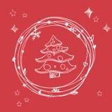 Kerstmis schetsmatige reeks Eps 10 Geen transparantie Kerstmisboom van Kerstmiselementen in kader Royalty-vrije Stock Fotografie