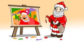 Kerstmis-schilderen-Santa Stock Foto's